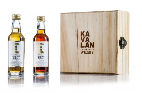 Kavalan Miniaturset in Holzbox Solist Sherry & Solist Bourbon