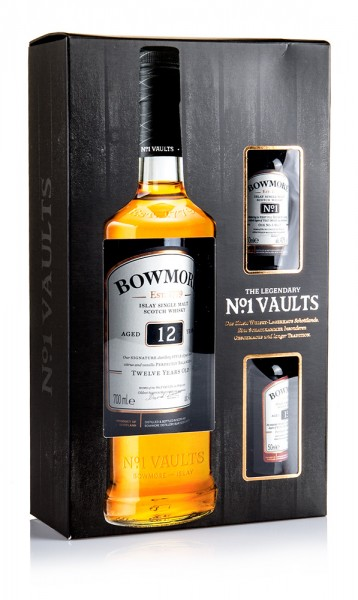 Bowmore 12 Jahre inkl. 2 Miniatur 15 J. und Vault No. 1 in Geschenkverpackung